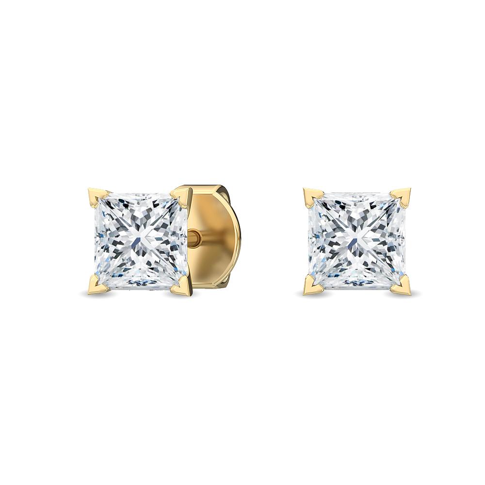 Princess Cut Diamond Stud Earrings In 14 Karat Gold I
