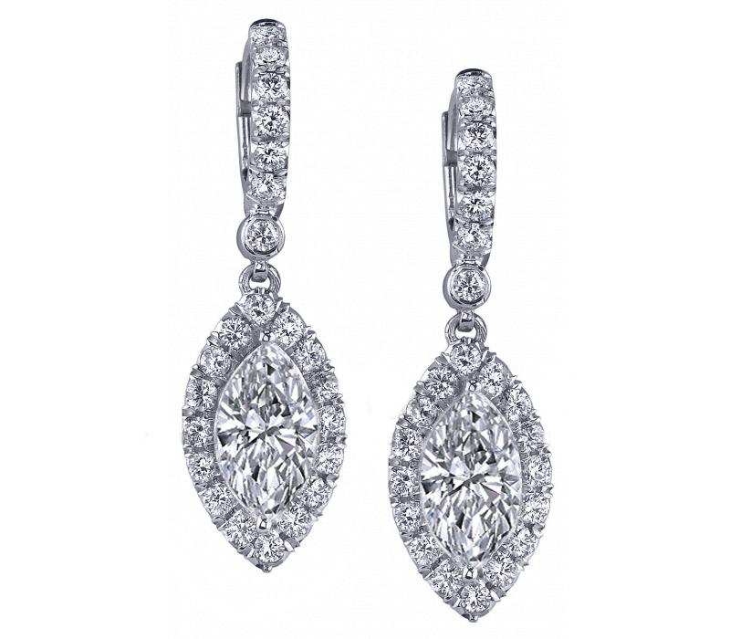 Marquise Diamonds Dangling Halo Earrings