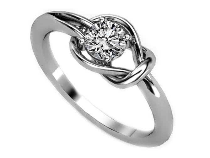 European Engagement Ring Love Knot Solitaire Diamond Engagement