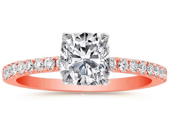 Pee Rose Gold Cushion Diamond Engagement Ring Pave Band
