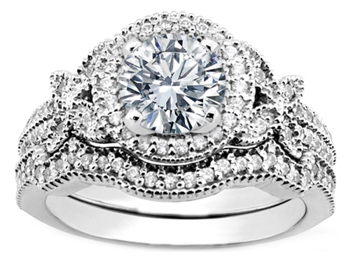 Engagement Ring Vintage Style Diamond Halo Erfly And Wrap Wedding Band Es1051brbs