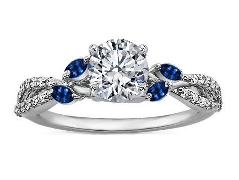 Engagement Ring Diamond Engagement Ring Blue Marquise