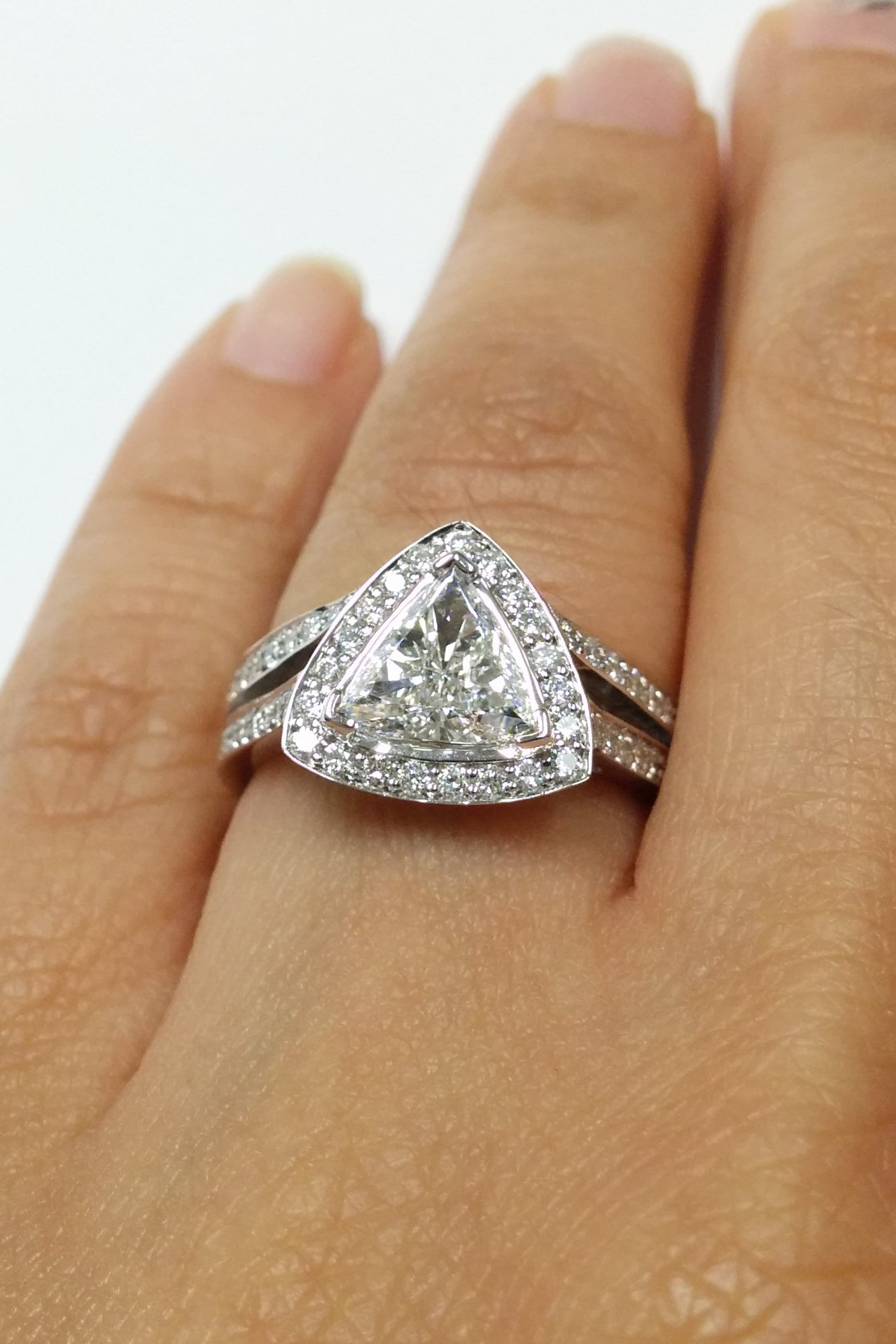 engagement ring trillion diamond halo engagement ring. Black Bedroom Furniture Sets. Home Design Ideas