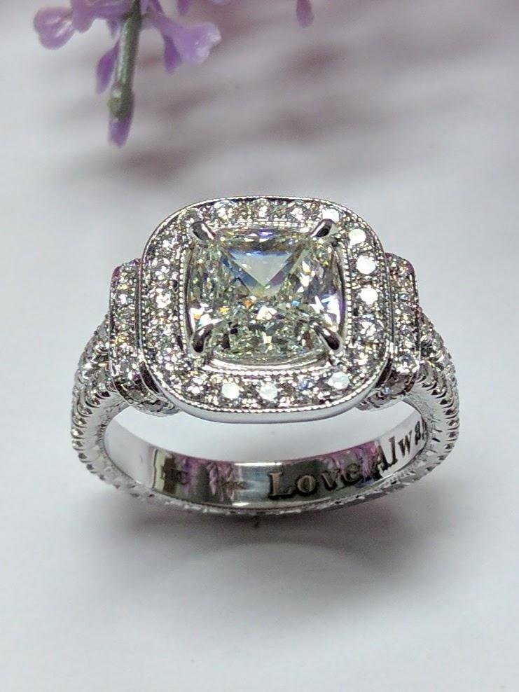 Image Image Cushion Cut Diamond Halo Engagement Ring
