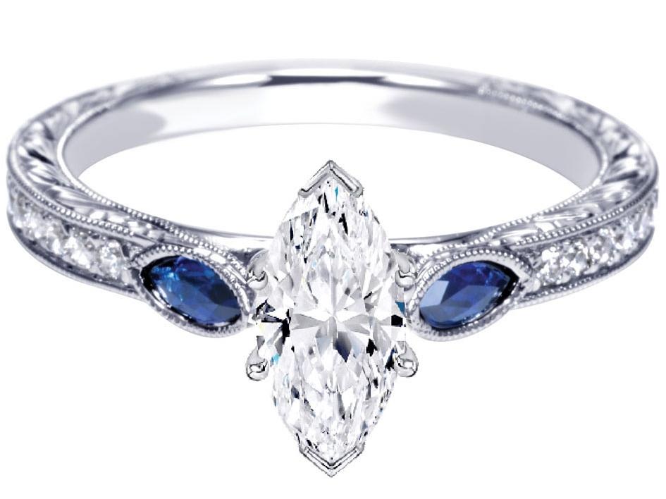 Engagement Ring Three Stone Marquise Diamond Engagement Ring Blue Sapphire s