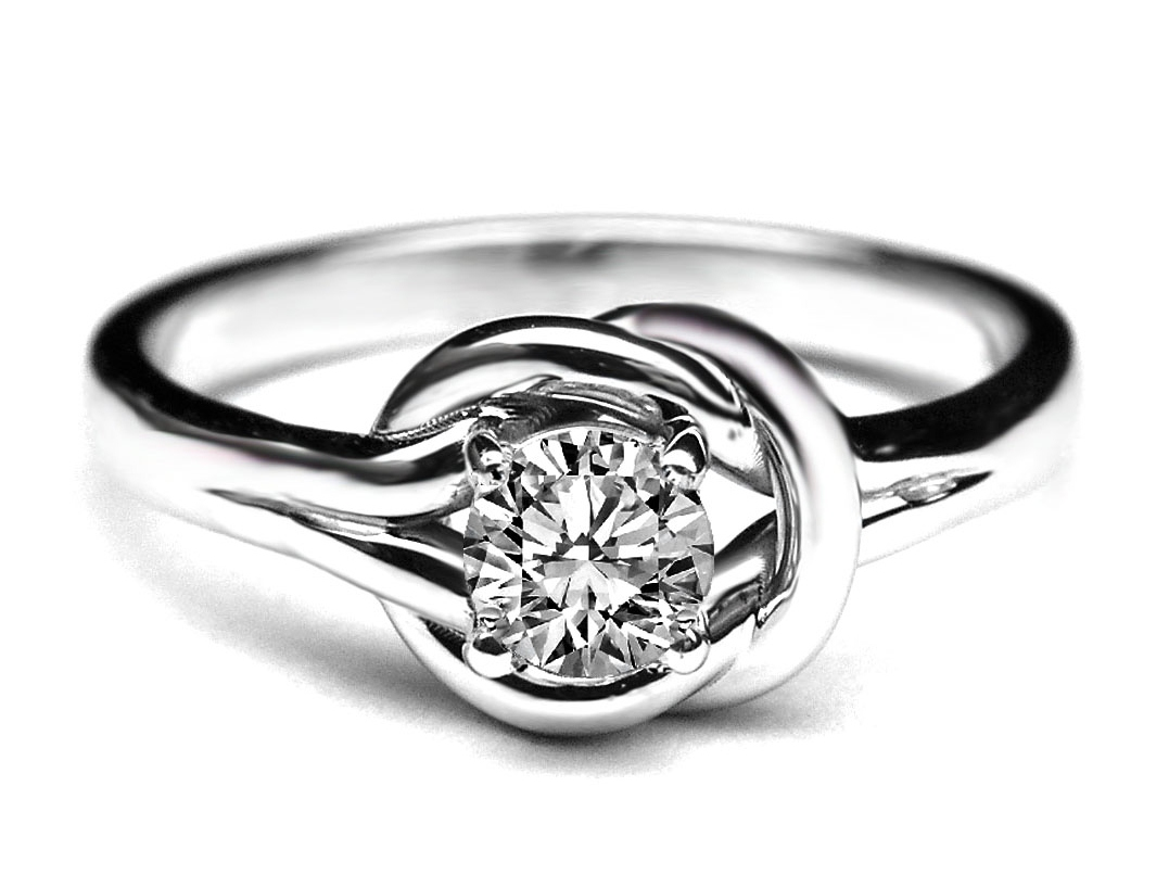 engagement ring love knot solitaire diamond engagement