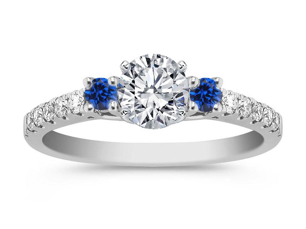 Engagement Ring -Three Stone Diamond & Sapphire Engagement