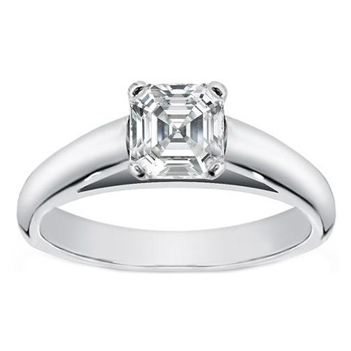 asscher diamond cathedral solitaire engagement ring in 14k white gold - Wedding Rings Under 500