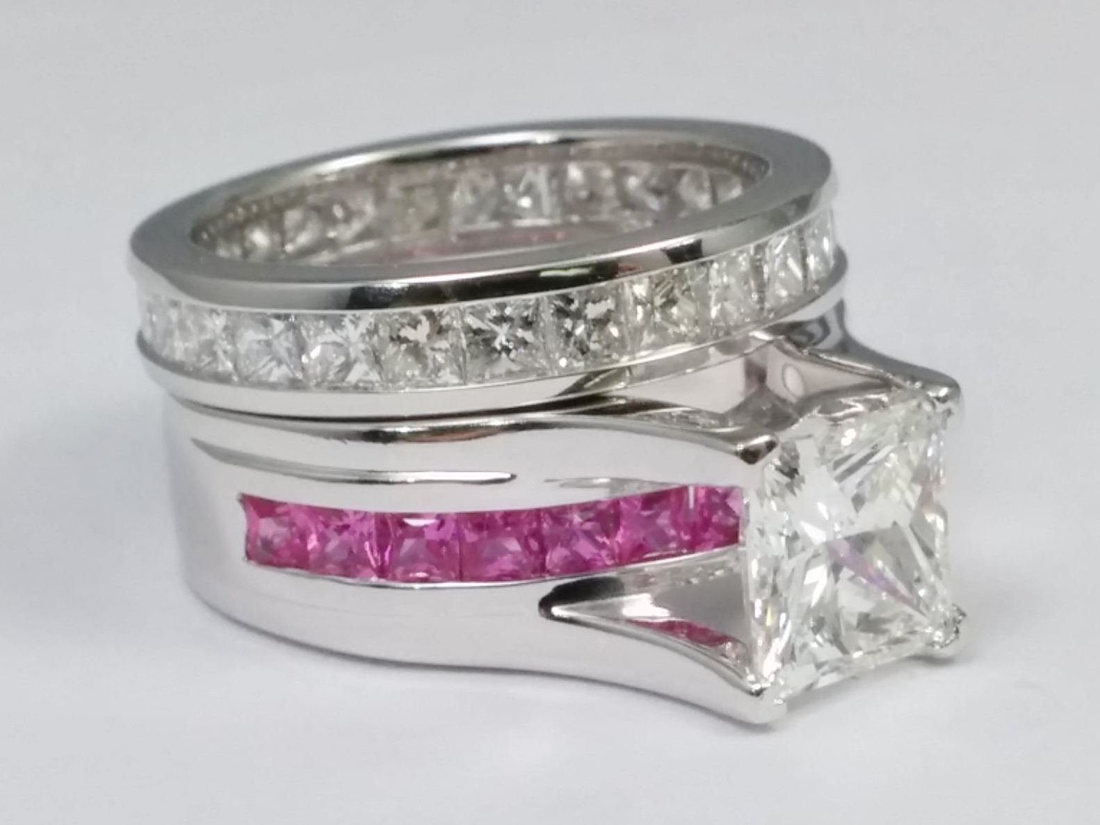 Princess Cut Diamond Bridge Engagement Ring With Pink Shire And Eternity Band