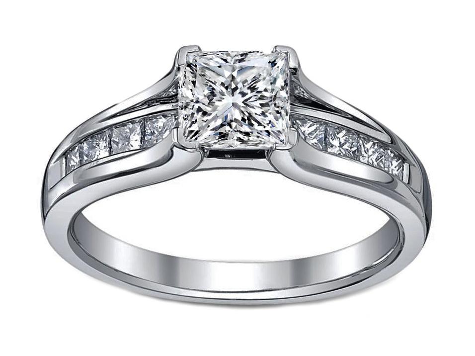 Pee Princess Diamond Bridge Engagement Ring In 14k White Gold