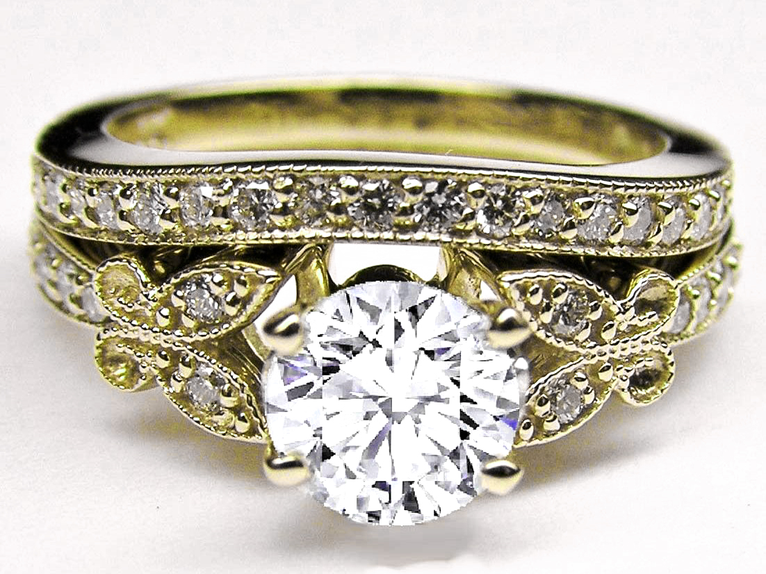 Diamond Erfly Vintage Engagement Ring Matching Wedding Band In Yellow Gold
