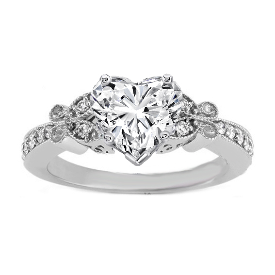 Heart Shape Diamond Erfly Vintage Engagement Ring