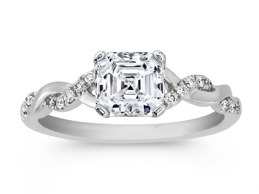 Engagement Ring Asscher Cut Diamond Petite Twisted Pave Band Engagement Ring