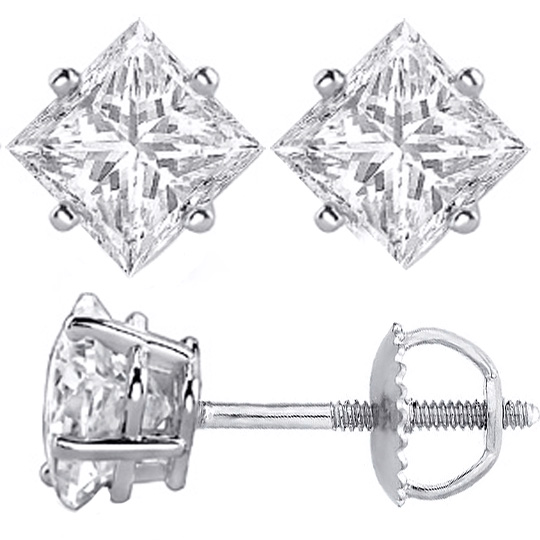 Diamond Earrings 1 2 Tcw Princess Cut Stud In 14 Karat White Gold I Si2 Rea10wis 0 5