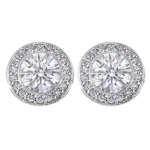 Pavé And Bezel Set Round Diamond Halo Earrings In 14 Karat White Gold H Si2