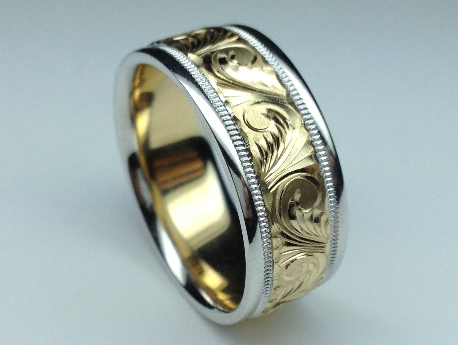 Wedding Band Two Tone 14k White Yellow Gold 8 Mm Men S Engraved