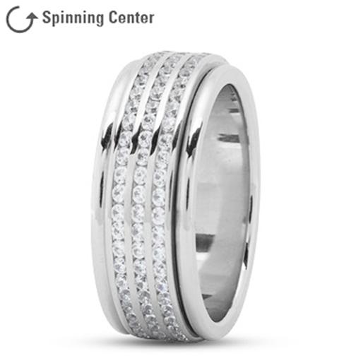 Wedding Band Three Row Channel Diamond Spinner Ring
