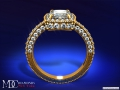 ES198CUYG Tonnaeau Cushion Diamond Halo Engagement ring