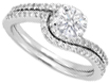 Round Diamond Pav� Set Knife Edge Engagement Ring Setting and Matching Wedding Band