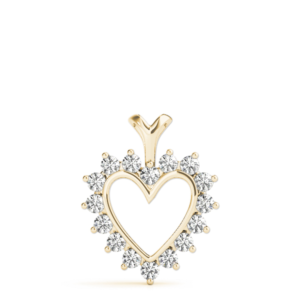 Heart Diamond Pendant Yellow Gold