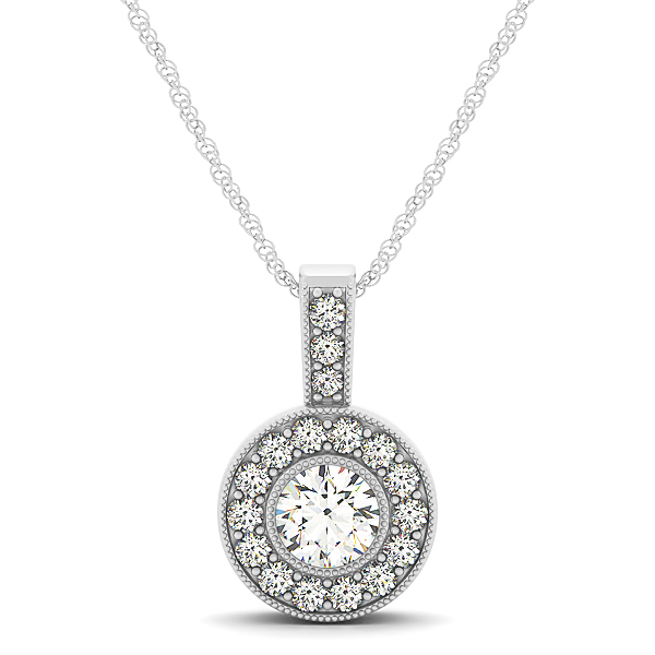 Bezel Halo Diamond Pendant 0.65ct