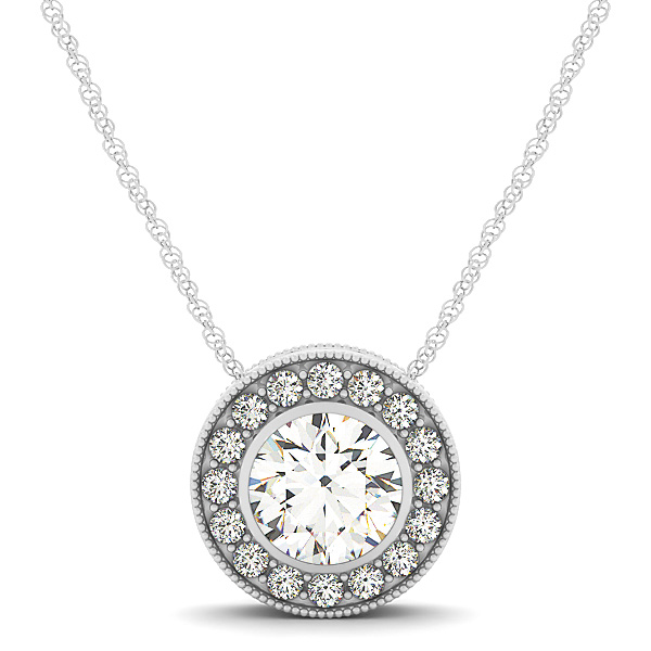 Engraved Bezel Halo Diamond Pendant 0.61ct