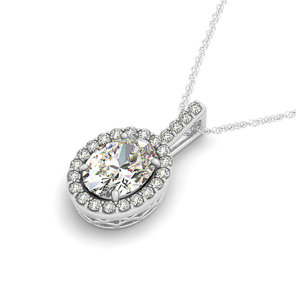 Vintage Filigree Oval Halo Diamond Pendant 0.66ct