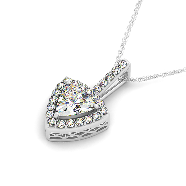 Trillion Halo Filigree Diamond Pendant 0.67ct