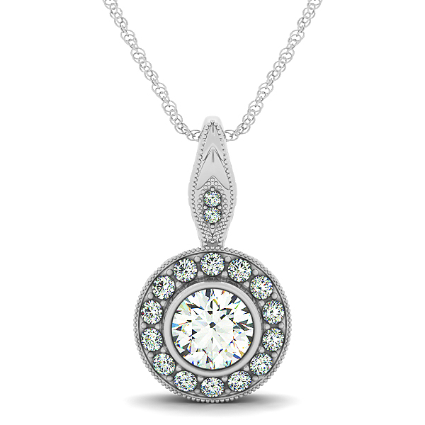 Vintage Engraved Halo Diamond Pendant 0.65ct