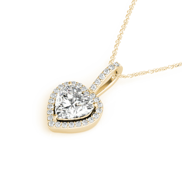 Heart Halo Diamond Pendant Yellow Gold