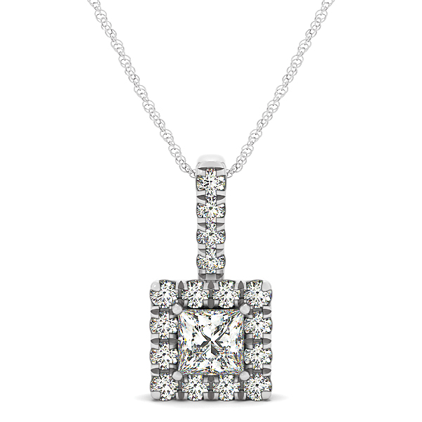 Princess Halo Diamond Pendant 0.55ct