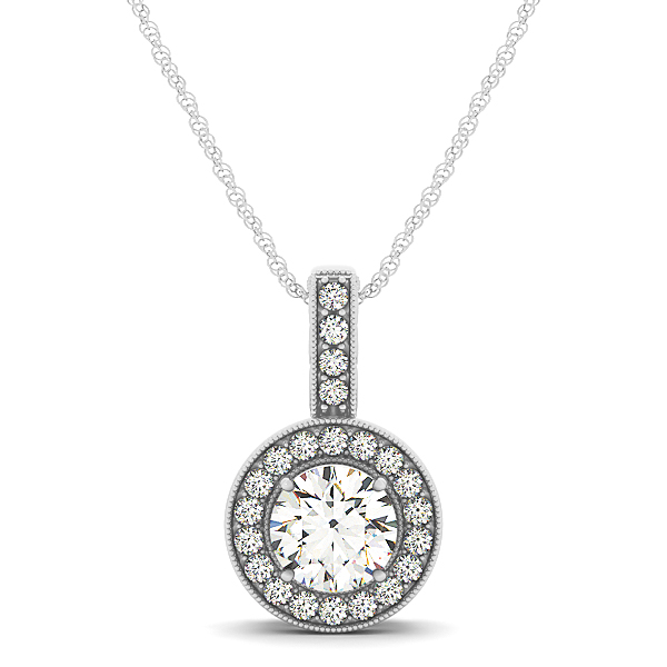 Filigree Halo Diamond Pendant 0.42ct