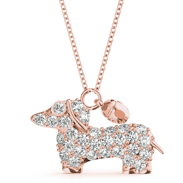Puppy Diamond Pendant Rose Gold