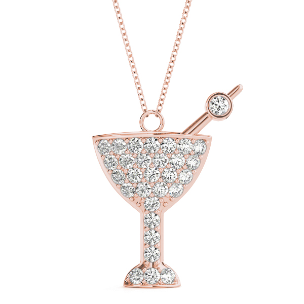 Martini Diamond Pendant Rose Gold