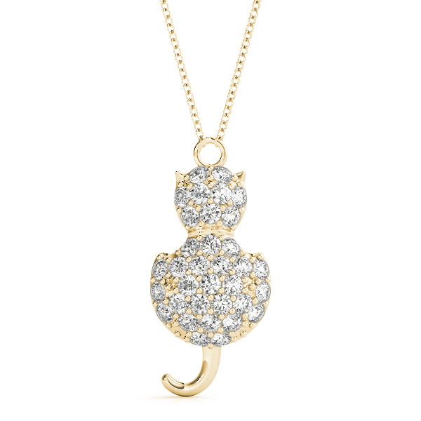 Cat Diamond Pendant Yellow Gold