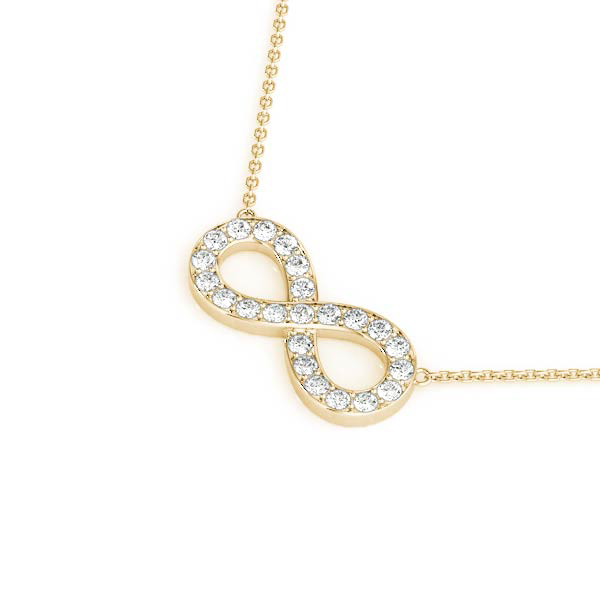 Infinity Pave Diamond Pendant Yellow Gold