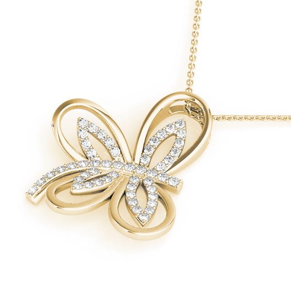 Butterfly Diamond Pendant Yellow Gold