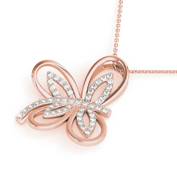 Butterfly Diamond Pendant Rose Gold
