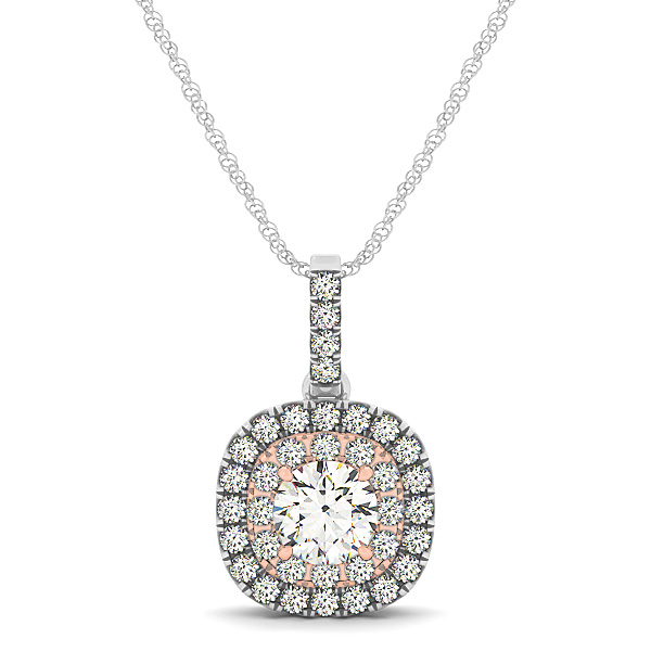 Two Tone Double Halo Diamond Pendant 0.47ct