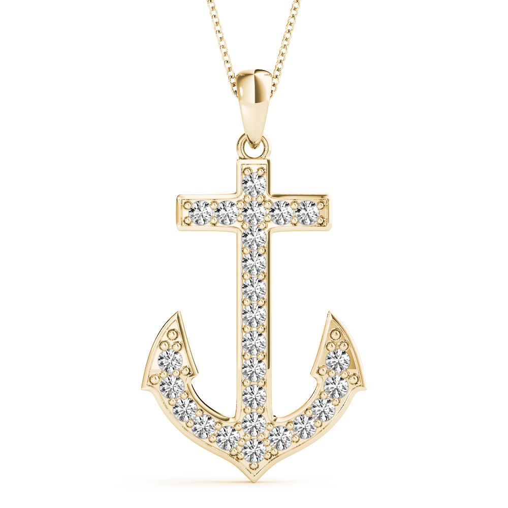 Diamond Anchor Pendant Yellow Gold