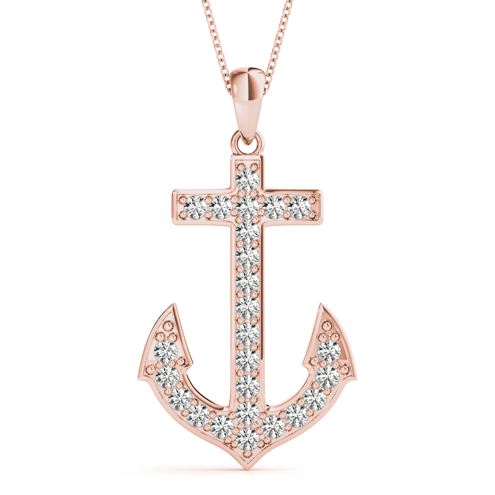 Diamond Anchor Pendant Rose Gold