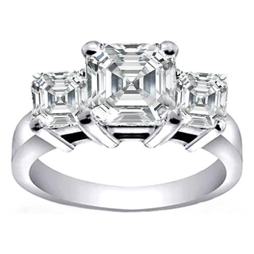 Engagement Ring Three Stone Asscher Cut Diamond