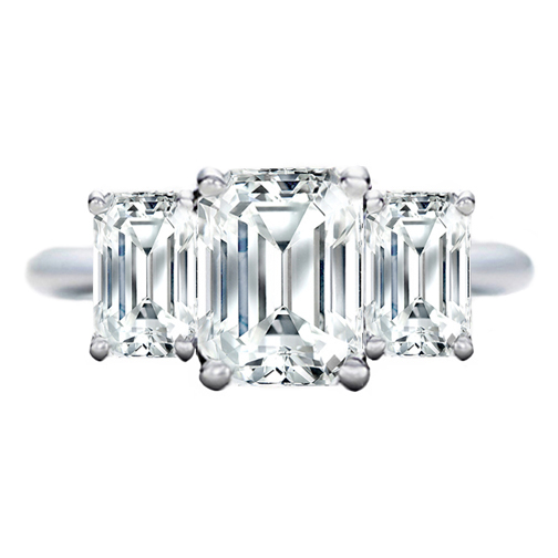 3 Stone Emerald Cut Diamond Engagement Ring Like Jamie-Lynn DiScala\'s 0.50  tcw. In