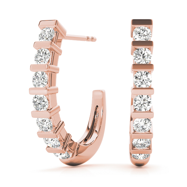 Bar Set Diamond J Hoops Rose Gold