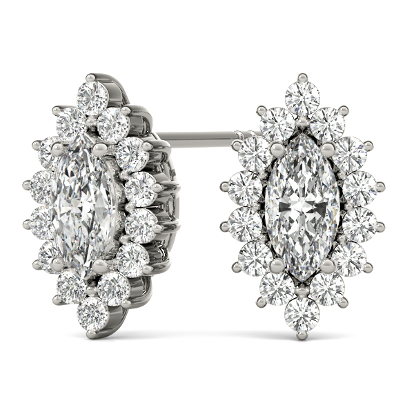 Maquise Floral Halo Diamond Earrings 0.78