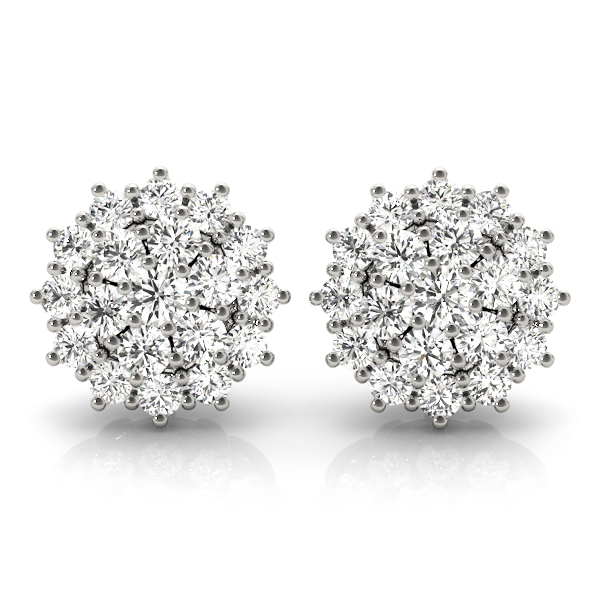 Diamond Cluster Earrings Platinum 4 Ct.