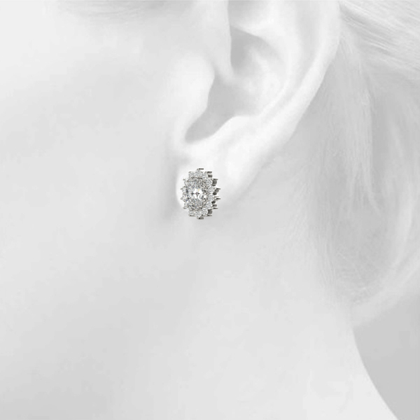 Oval Floral Halo Diamond Earrings 0.9