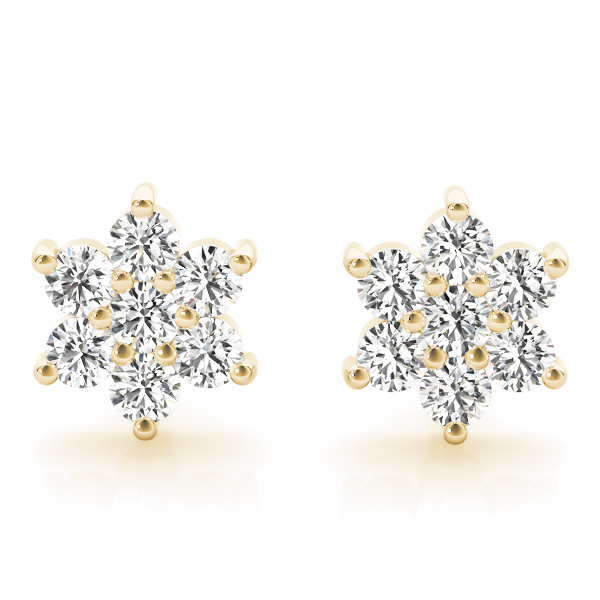 Floral Star Diamond Earrings Yellow Gold
