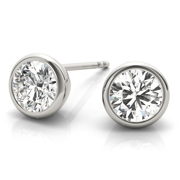 Round Bezel Stud Earrings 0.24 Ct.