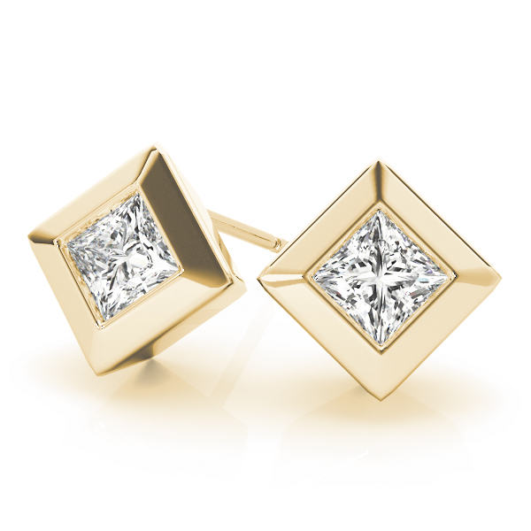 Princess Bezel Earrings 1.0 Ct. Yellow Gold